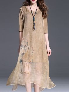Printed Silk Midi Dress with Cami