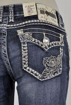 LA Idol Plus Size 15, Boot Cut Jeans Jewel Rose Stitching Rhinestone Button NWT #LAIdol #BootCut
