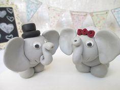 Elephant wedding cake topper bride and groom