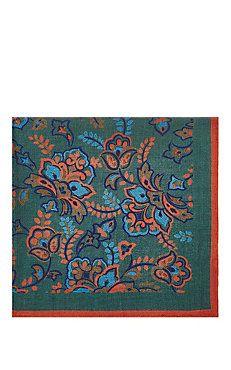 Flower-Print Wool-Silk Pocket Square