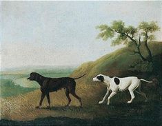 A Liver Pointer and a German Pointer in a Landscape by Daniel Clowes (1774-1829)