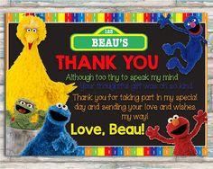 Sesame Street Thank You Card  Elmo Cookie Monster Big Bird