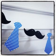Mustache Garland Banner - Mustaches and Neck Ties - Photo Booth Banner - Great for little man parties, first birthdays,  photo booths
