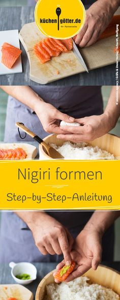 Practical step-by-step instructions for homemade Nigiri Sushi. Nigiri Sushi, Sushi Co, Japan Sushi, Dessert Sushi, Milk Dessert, Make Your Own Sushi, How To Make Sushi, Sushi Recipes, Asian Recipes