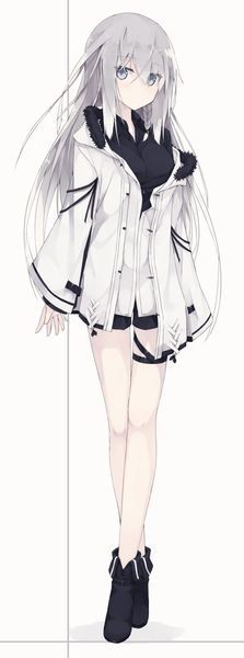 Anime picture 806x2164 with original nagishiro mito long hair single tall image simple background fringe white background silver hair hair between eyes braid (braids) full body grey eyes payot open jacket fur trim side braid crossed legs (standing) girl shoes