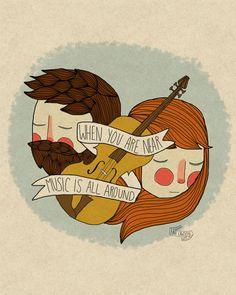 Music Is All Around - 5 x 7 Illustration Print