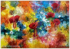 Poppies Ladies, 100x70cm, acrylic, canvas, for sale