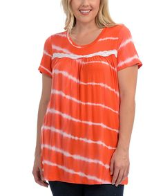 Another great find on #zulily! Coral Tie-Dye Swing Tee - Plus by Celeste #zulilyfinds