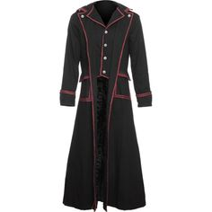 Long black men's coat from the Raven SDL brand of gothic clothing, detailed and lined with red stripes, embossed metal buttons.