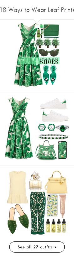 """18 Ways to Wear Leaf Prints"" by polyvore-editorial ❤ liked on Polyvore featuring leafprints, Dolce&Gabbana, Nearly Natural, L.A. Girl, DKNY, NYX, Tony Moly, Aesop, adidas Originals and Fred Leighton"