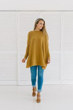Mustard knit, slouchy sweater, oversized knit, autumn style, Blake Knit