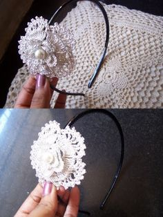 Muted silver crochet flower hair band with a pearl in the center ...