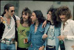 Uriah Heep group portrait Pinewood Studios UK LR Ken Hensley Lee Kerslake Mick Box Gary Thain and David Byron