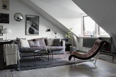 Living room in a Scandinavian attic apartment
