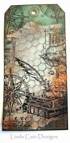 texture paste & honeycomb stencil