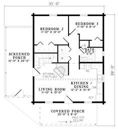 House Plan 61123 at FamilyHomePlans.com Not sure how I feel about the two bedrooms on the main floor..