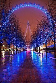Glowing London Eye, England