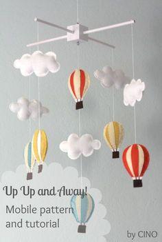Baby Diy Mobile Colour 49 New Ideas Baby Crafts, Felt Crafts, Diy Hot Air Balloons, Nursery Hot Air Balloon, Balloon Clouds, Purple Balloons, Baby Balloon, Balloon Banner, Balloon Ideas