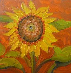 """48 SUNFLOWER IN ORANGE"" - Original Fine Art for Sale - © Dee Sanchez"