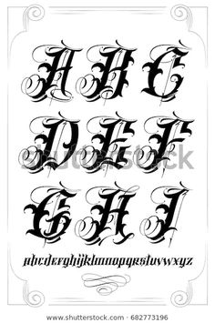 Vector Tattoo Lettering Stock Vector (Royalty Free) 682773196 Source tattoo designs, tattoo, small t Chicano Tattoos Lettering, Tattoo Lettering Alphabet, Calligraphy Tattoo Fonts, Tattoo Lettering Design, Graffiti Lettering Fonts, Hand Lettering Fonts, Graffiti Alphabet, Cool Lettering, Tattoo Designs