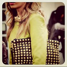 neon + studded clutch.