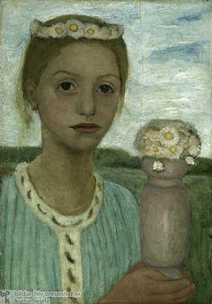 Girl with a Wreath of Flowers - Paula Modersohn-Becker (1902-03)