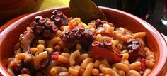 """Greek Braised Octopus with Short Pasta or """"Htapodi me Makaronaki Kofto. Greek Meze, Greek Pasta, Greek Cooking, Time To Eat, Greek Recipes, Yummy Recipes, Halloumi, Fish And Seafood, Penne"""