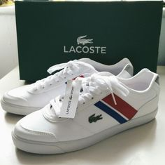 81cb7ad6e66 Adidas Superstar · New with box UK6 Lacoste white trainers with red and  blue stripes. Retro look.