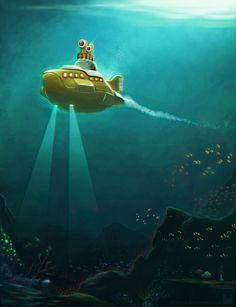 yellow submarine underwater adventure.