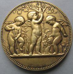Medalla de arte francés antiguo plata Vermeil por SarahAndJohns