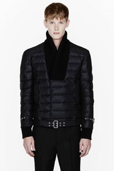 Balmain Black Quilted Knit-trim Quilted Bomber for men   SSENSE