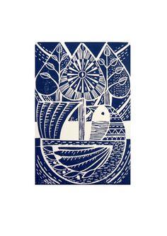 Blue Folk Bird and Trees Original Hand Printed Linocut Print. £20.00, via Etsy.