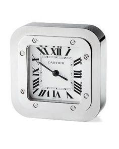 Cartier Santos stainless steel clock