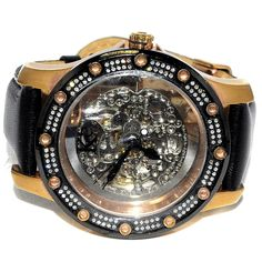 1.2ct Real Diamond Mens Watch Rose Gold Finish Automatic Skeleton Dial New 47mm  #MidwestJewellers