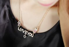 "Amazon.com: OKAJEWELRY Gold-Plated Crystal Word Love You Heart Pendant Necklace, 20.87"": Clothing"