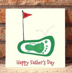 Golf  Plaque. Handprint and footprint art for baby and kids. Send us your prints and we do the rest! Great gifts for moms and dads, grandparents, holidays and special occasions! www.myforeverprints.com