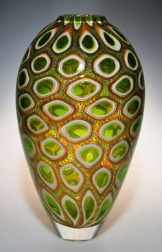 Murrine Glass Art by Michael Waysmith - Lime green windows surrounded by white, then gold, then emerald filaments.