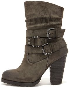 Tumbling Act Khaki Suede High Heel Mid-Calf Boots on shopstyle.com