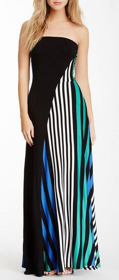 Strapless Stripe Maxi Dress // Love the Back!