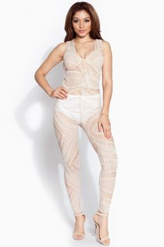dfc5f8a7a0a4 Nude Crochet Sheer Jumpsuit   Cicihot sexy dresses