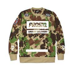 """Bluza bez kaptura DELIVERY 100 CAMO Męska bluza wykonana z najlepszej jakości bawełny. Z przodu duży nadruk z logo Prosto.  Na rękawach kolekcyjne naszywki oraz litera 'P"""". Cała bluza zadrukowana w autorski wzór kamuflażu. Delivery, Graphic Sweatshirt, Logo, Sweatshirts, Sweaters, Fashion, Moda, Logos, Fashion Styles"""