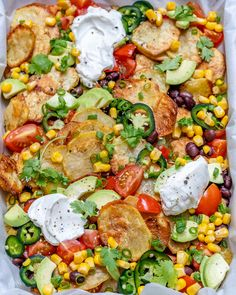 """{NEW} Crispy Potato """"Nachos"""" from 🍅🥑🌽⠀ ⠀ makes 4 servings⠀ ⠀ Ingredients:⠀ 4 large potatoes, skins on, scrubbed well and pat dried or air dried⠀ 2 Tbsps olive oil, or avocado oil⠀ 1 ts Real Food Recipes, Vegetarian Recipes, Yummy Food, Healthy Recipes, Delicious Recipes, Salad Recipes, Diet Recipes, Clean Eating Diet, Cooking"""