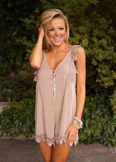 Online boutique. Best outfits. Beige Stoned Wash Lace Romper - Modern Vintage Boutique