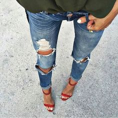military shirt + ripped jeans + red sandals                                                                             Source