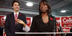 Photo of Justin Trudeau, Leader of the Liberal Party of Canada, and his candidate for Whitby-Oshawa, Celina Caesar-Chavannes. (Alex Guibord/The Canadian Press) | #Cdnpoli
