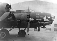 """WWII military aircraft nose art on the B-17 Flying Fortress """"Nemesis of Aeroembolism"""""""