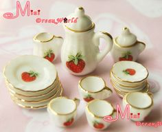 miniture strawberry china | Free Shipping~1/12 scale Toy Dollhouse Miniature Strawberry Porcelain ...