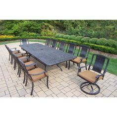 11 Piece Aluminum Outdoor Dining Set With Red Cushions In 2019 For