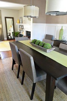 Great colors, chairs, love the moss balls on the table! House Crashing: Classic & Natural With A Twist | Young House Love