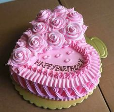 Best 12 Pretty in pink Cake Decorating Designs, Cake Decorating Techniques, Cake Designs, Heart Shaped Birthday Cake, Heart Shaped Cakes, Cake Icing, Buttercream Cake, Cupcake Cakes, Decoration Patisserie